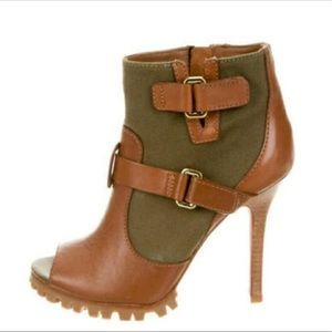 Tory Burch leather and canvas peep toe booties